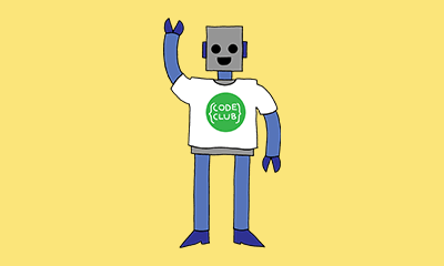 Get involved, robot wearing code club shirt